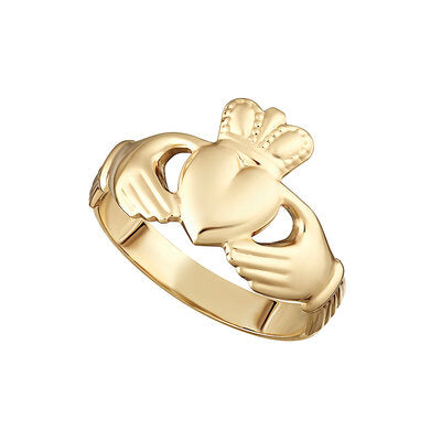 Maids 9ct Yellow Gold Hallow Back Claddagh Ring