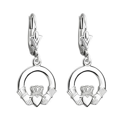 14ct White Gold Claddagh Earrings
