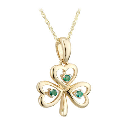 9ct Yellow Gold Open Shamrock Pendant with Emeralds