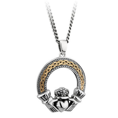 Sterling Silver and 10ct Gold Oxidesed Celtic Claddagh Pendant
