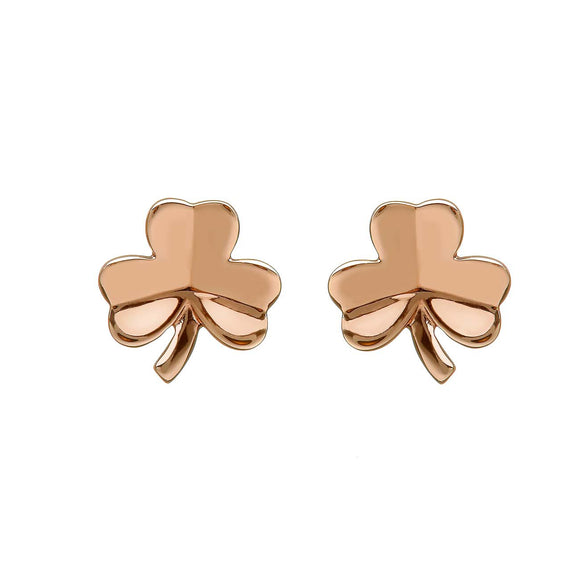 Irish Rose Gold Shamrock Earrings