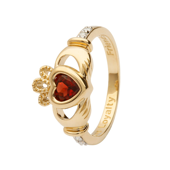 14ct Yellow Gold Garnet January Birthstone Claddagh Ring
