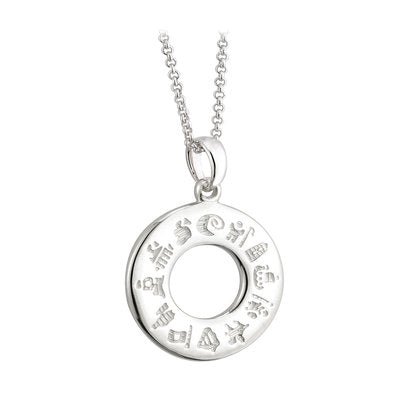 Sterling Silver History of Ireland Doughnut Pendant