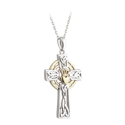 Sterling Silver and 10ct Gold Celtic Claddagh Cross