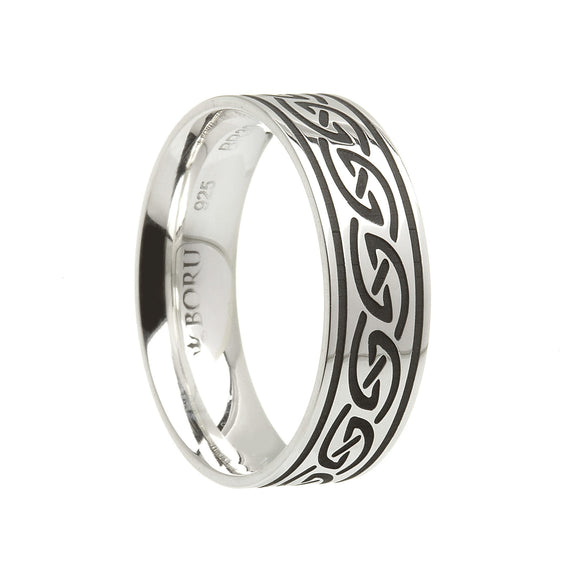 Sterling Silver Wide Celtic Waves Wedding Ring