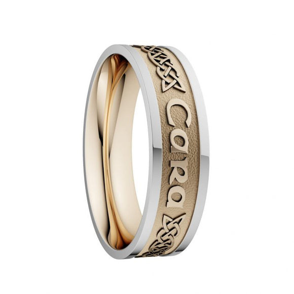 Mo Anam Cara Lovers Knot Wedding Ring with White Rails - Wide