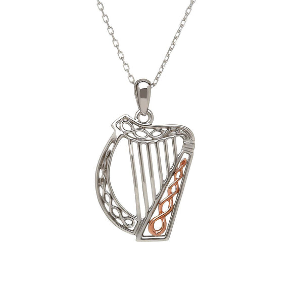 Sterling Silver and Rose Gold Irish Harp Pendant