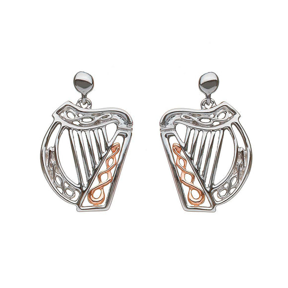 Sterling Silver and Rose Gold Irish Harp Earrings
