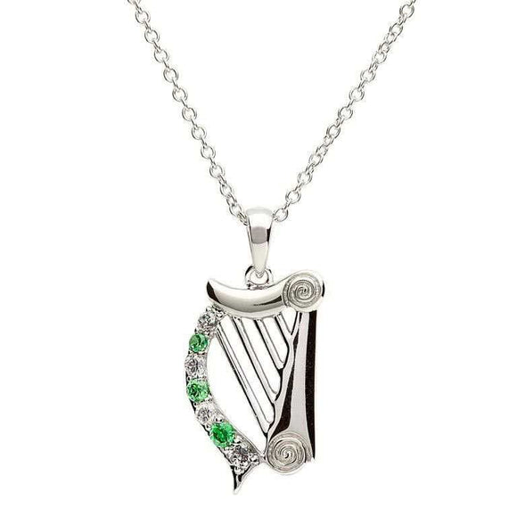 Sterling Silver Cubic Zirconia Celtic Harp Pendant