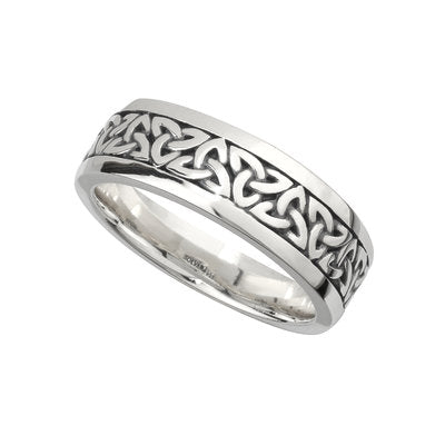 Men's Sterling Silver Oxidised Trinity Knot Ring