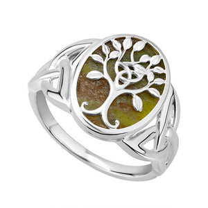 Sterling Silver Connemara Marble Tree Of Life Ring