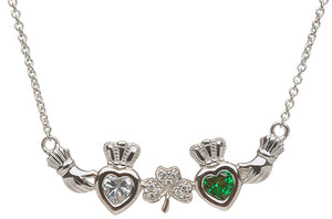 Sterling Silver 2 Stone Shamrock Mothers Necklace