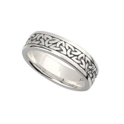 Ladies Sterling Silver Oxidised Trinity Knot Ring