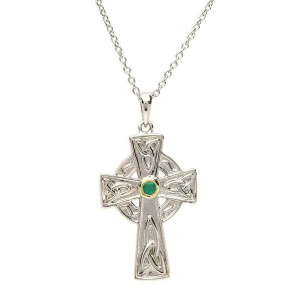 Sterling Silver Emerald Set Celtic Knot Cross