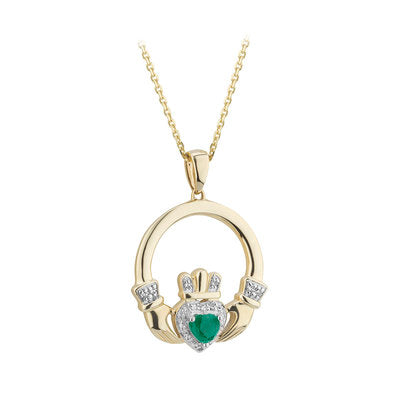 14ct Gold Emerald and Diamond Claddagh Pendant