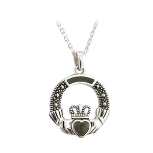 Sterling Silver Connemara Marble Marcasite Claddagh Pendant