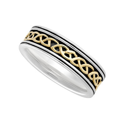 Ladies Sterling Silver & 10ct Gold Oxidised Celtic Knot Ring