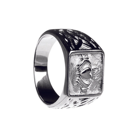 Men's Silver Claddagh and Trinity Signet Ring (Size 13)