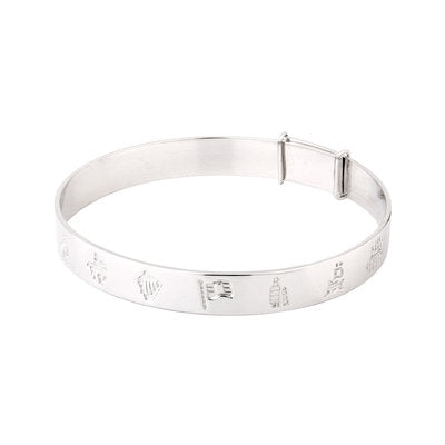 Sterling Silver History Of Ireland Kids Bangle