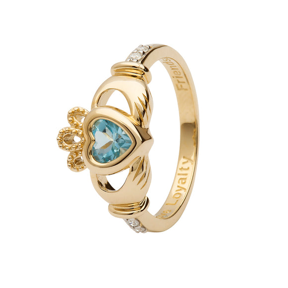 14ct Yellow Gold Blue Topaz December Birthstone Claddagh Ring with Diamonds