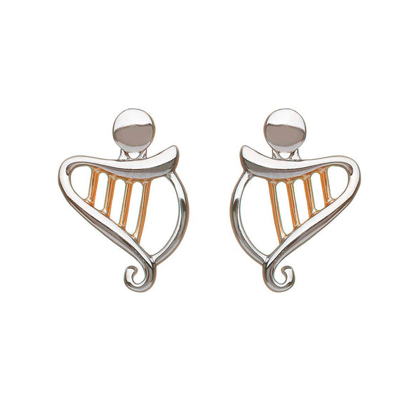 Sterling Silver and Rose Gold Celtic Harp Earrings