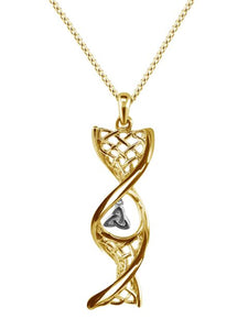 14ct Gold Celtic DNA Pendant with Trinity Knot
