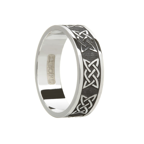 Sterling Silver (Oxidised Finish) Men's Lovers Knot Wedding Ring
