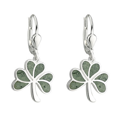 Sterling Silver Connemara Marble Shamrock Drop Earrings