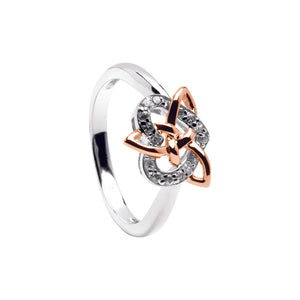 Sterling Silver with Rose Gold Plating Celtic Trinity Knot and Heart Stone Set Ring