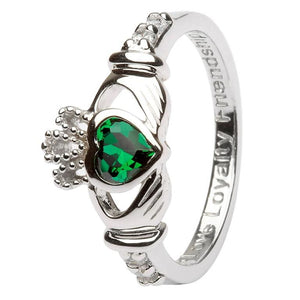 Sterling Silver May Birthstone Claddagh Ring