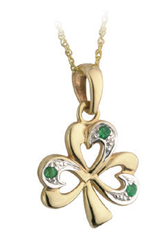 9ct Gold Emerald Shamrock Pendant