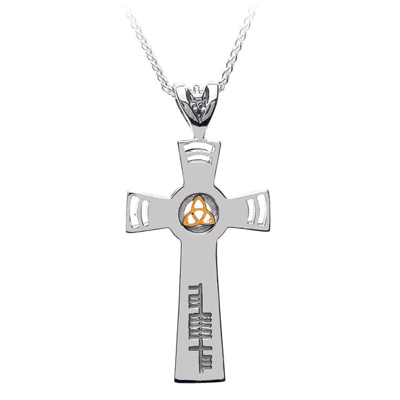 Sterling Silver and 18ct Yellow Gold Ogham Trinity Cross