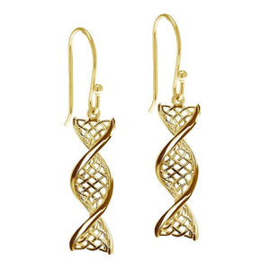14ct Gold Celtic DNA Drop Earrings