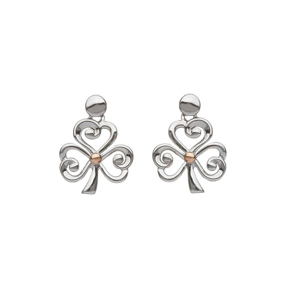 Sterling Silver and Rose Gold Shamrock Earrings