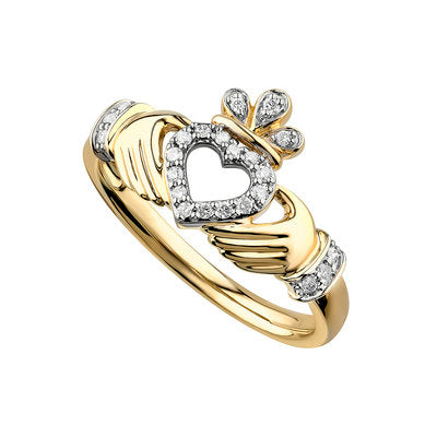 14ct Gold Diamond Open Heart Claddagh Ring