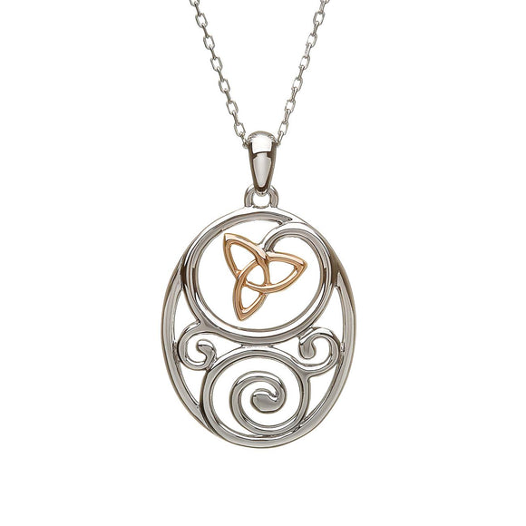 Sterling Silver and Rose Gold Celtic Trinity Knot Pendant