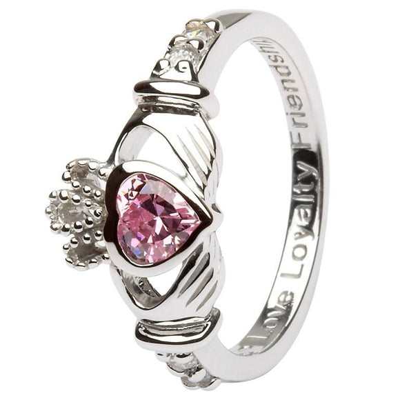 Sterling Silver October Birthstone Claddagh Ring