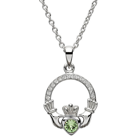 Sterling Silver Claddagh August Birthstone Pendant with Swarovski Crystals