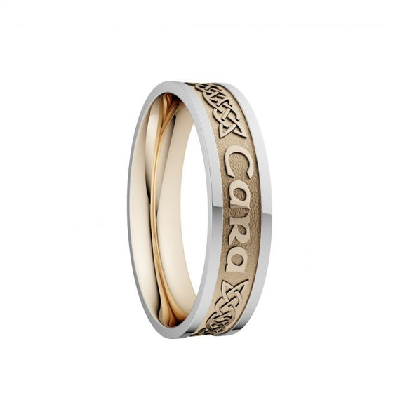 Mo Anam Cara Lovers Knot Wedding Ring with White Rails - Narrow
