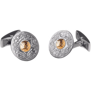 Sterling Silver Celtic Warrior Cufflinks with 18ct Gold Bead - Medium