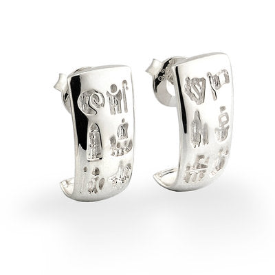 Sterling Silver History of Ireland Stud Earrings