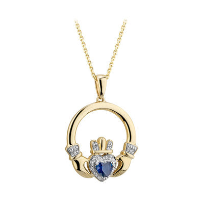 14ct Gold Saphire and Diamond Claddagh Pendant