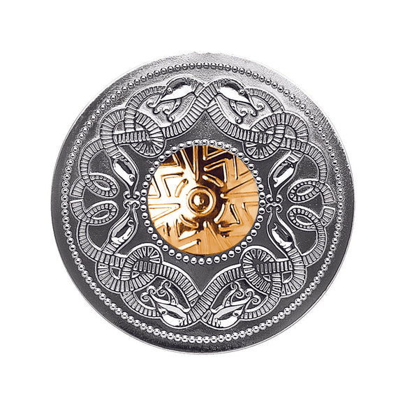 Sterling Silver Celtic Warrior Brooch with 18ct Gold Bead