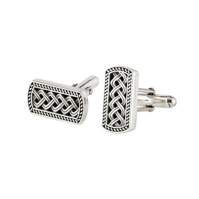 Sterling Silver Ingot Style Celtic Cufflinks