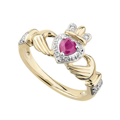 14ct Yellow Gold Ruby and Diamond Claddagh Ring