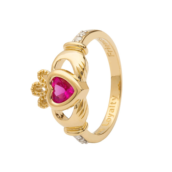 14ct Yellow  Gold Pink Sapphire October Birthstone Claddagh Ring