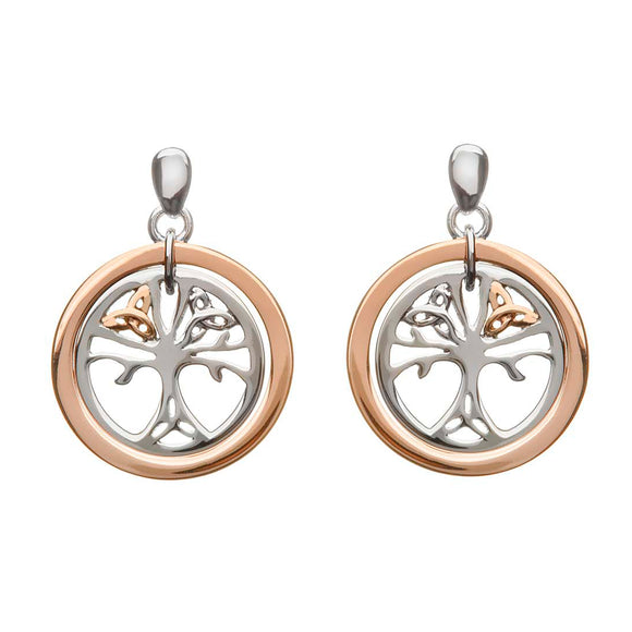 Sterling Silver and Rose Gold Celtic Tree of Life Earrings