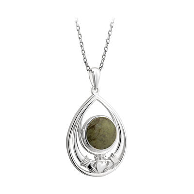 Sterling Silver Connemara Marble Claddagh Pendant