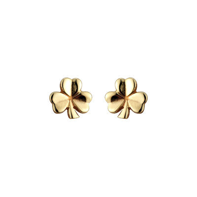 Gold Shamrock Stud Earrings