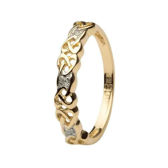Ladies 14ct Gold Celtic Knot Diamond Ring